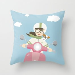 Scooter Girl with Dog Illustration Throw Pillow