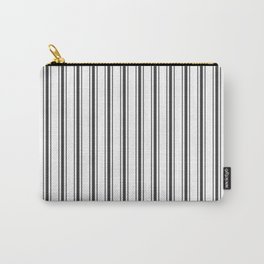 Mattress Ticking Wide Striped Pattern in Dark Black and White Carry-All Pouch