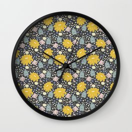 Ramona: a Modern Floral Pattern Wall Clock