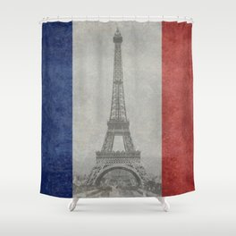 Flag of France with Eiffel Tower Shower Curtain