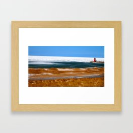 Lighthouse in South Haven, MI Framed Art Print