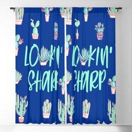 Lookin' sharp Cactus pattern - blue Blackout Curtain