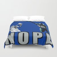 nope Duvet Covers featuring NOPE by Gold Lining