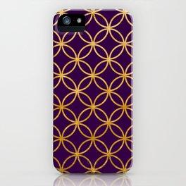 Purple and gold foil interlocking circles iPhone Case