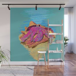 Colorful hermit crab in conch shell - Teal Wall Mural