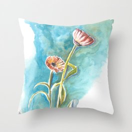 Blooms on Turquoise Throw Pillow