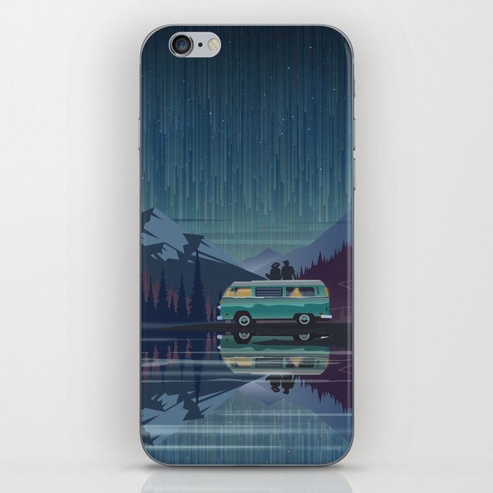 Retro Camping under the stars iPhone Skin