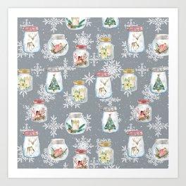 Christmas Jars Grey Art Print