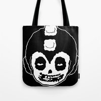 misfits Tote Bags featuring MISFITS MEGA MAN SKULL by UNDEAD MISTER / MRCLV