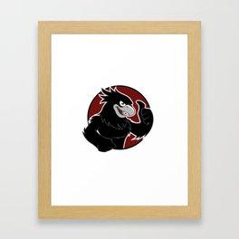 Black Hawk in red circle Framed Art Print