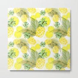 Pineapple Watercolor Fresh Summer Fruit Metal Print