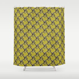 Abstract Wire Fence Chain Link Pattern, Seamless Vector Background Shower Curtain