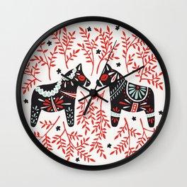Swedish Dala Horses – Red and Black Palette Wall Clock