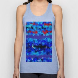 Blue lights and red birds Unisex Tank Top