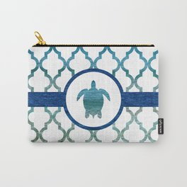 Turtle: Tropical Water Moroccan Pattern Carry-All Pouch