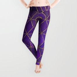 Purple gold galaxy gradient geometric pattern Leggings