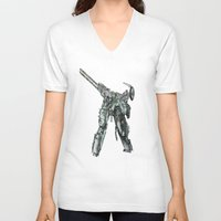 metal gear V-neck T-shirts featuring Metal Gear Solid LS  by Hisham Al Riyami