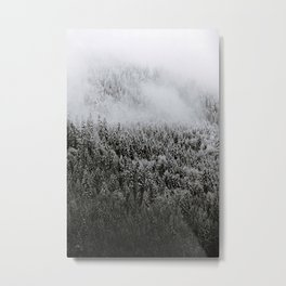 Moody forest in the Fog - Black and White Landscape Photography Metal Print