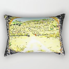 Pieve di Tho: arch of the bridge and countryside landscape Rectangular Pillow