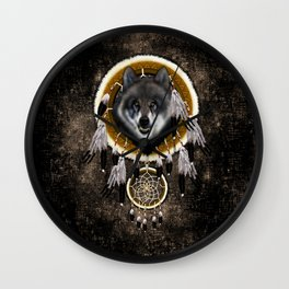 Indian Native Gray Wolf Dreamcatcher iPhone 4 5 6 7, ipod, ipad, pillow case and tshirt Wall Clock