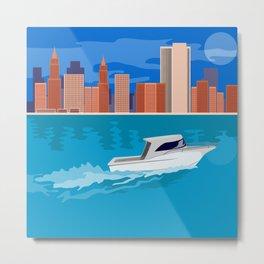 Skycrapers with Speedboat Metal Print