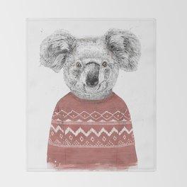 Winter koala (red) Throw Blanket