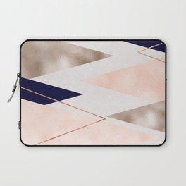 Rose gold french navy geometric Laptop Sleeve