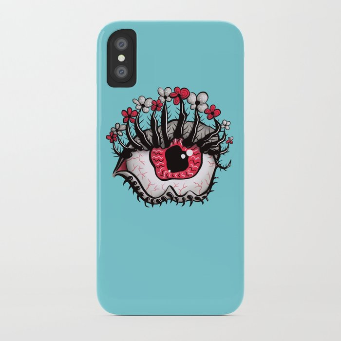 Eye Melt - Weird Red Eye With Flower Eyelashes iPhone Case