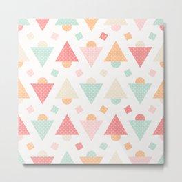 Retro pastel colors geometric shapes ornament Metal Print