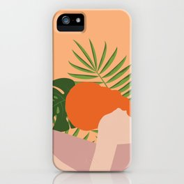 Woman w/ Jungle Leaves iPhone Case