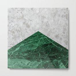 Geometric Concrete Arrow Design - Green Granite #412 Metal Print