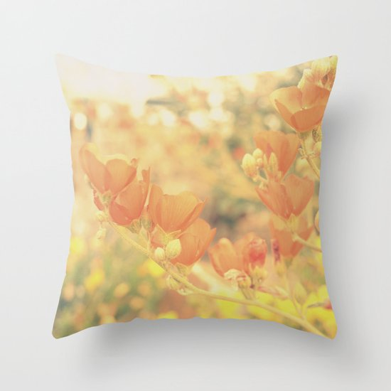 Warm Tones & Petals Throw Pillow