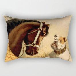 Vintage English Bulldog & Horse Illustration (1899) Rectangular Pillow
