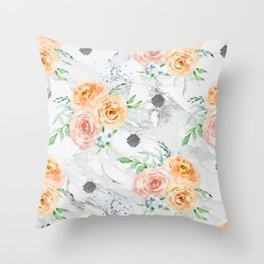 Beautiful Pastel Flowers on Marble Throw Pillow