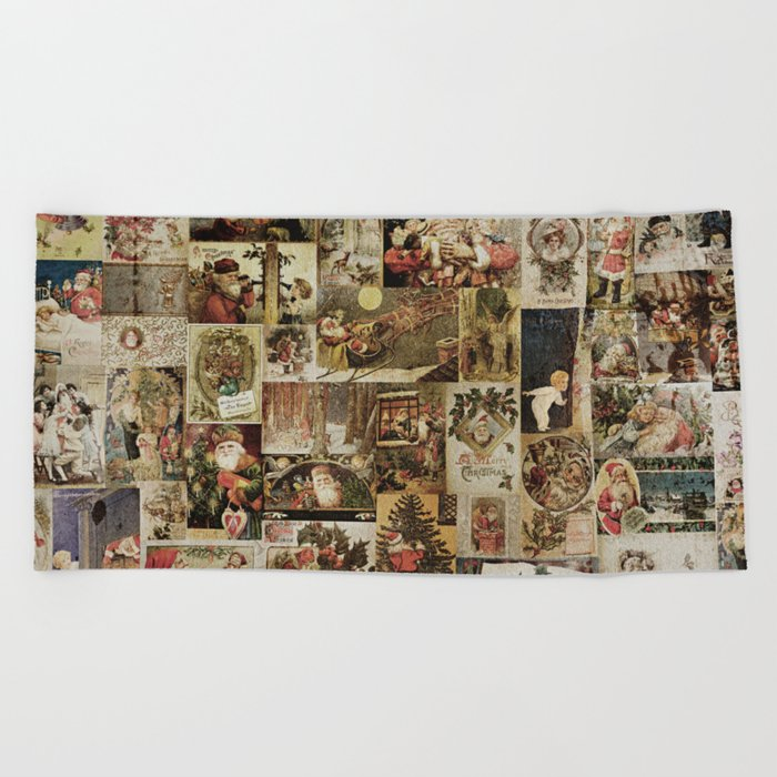 Merry Christmas- Santa angels & friends- collage Beach Towel
