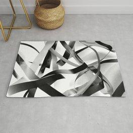 Black paper stripes Rug