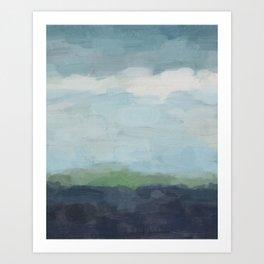 Navy Teal Aqua Sky Blue Green Abstract Wall Art, Painting Art, Nature Horizon, Modern Wall Art Print