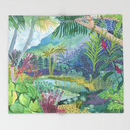Jungle Paradise Watercolor Throw Blanket