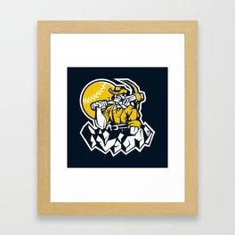 Miner prospector baseball mascot . Framed Art Print