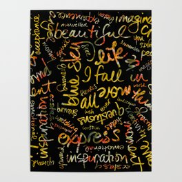 Marigold Kaleidoscope  + Words Overlay Poster