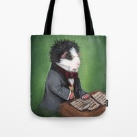 guinea pig Tote Bags featuring Franz Schubert the Guinea Pig by When Guinea Pigs Fly