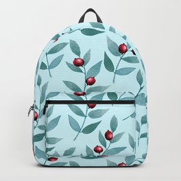 Mint-green leafs and red berries seamless pattern Backpack