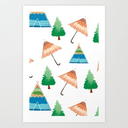 Umbrella Home Pattern  Art Print