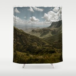 Cloudy Vibrant Mountaintop View in Big Bend - Lost Mine Trail Shower Curtain