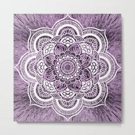 Mandala Grayish Purple Colorburst Metal Print