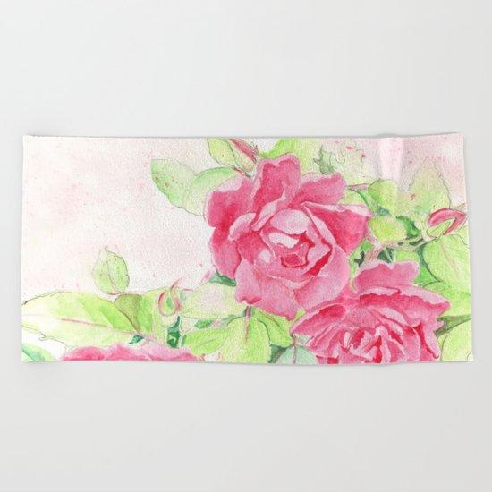 Cafe Roses Beach Towel
