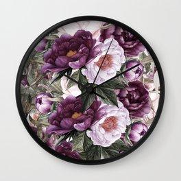 Purple Plum Pink Watercolor Peonies and Greenery Wall Clock