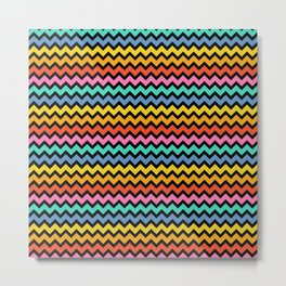 Happy Zigzag on Black Metal Print