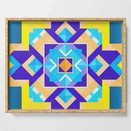 Geometric Tribal Mandala Inspired Modern Trendy Vibrant (Blue, Cobalt, Yellow, Orange, Purple) Serving Tray