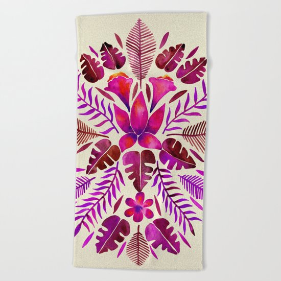 Tropical Symmetry – Magenta Beach Towel